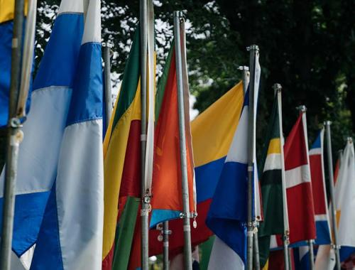 A row of international flags.