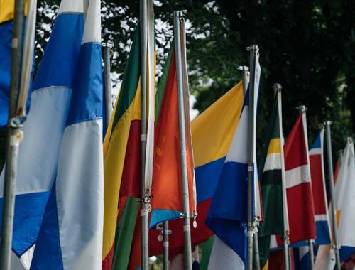 A row of international flags.