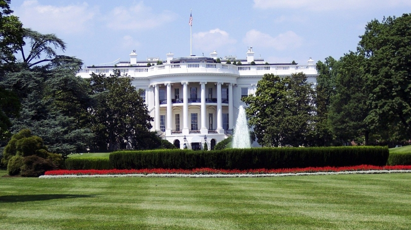 Front of the White House in Washington, DC.